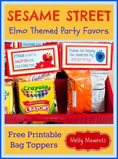 Sesame Street / Elmo Themed Birthday Favor or Goodie Bags! Kids will love these party treats. Includes a free printable bag topper that is double sided and easy to put together! Come check out Melly Moments Blog for other DIY decorations and festive party flare! Save yourself the time, energy, and money while party planning!