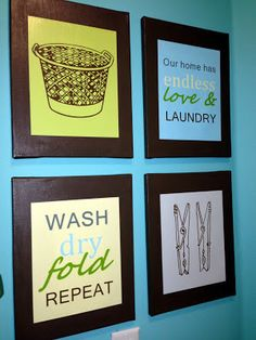 Fun framed pictures for the laundry room #laundryroomdecor #laundryideas