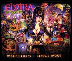 Elvira and the Party Monsters at Bill's Classic Arcade Monster Party, Party Monsters, Newest Horror Movies, Pinball Wizard, Cassandra Peterson, Arcade Machine, Scream Queens, Mistress, Game Art