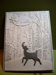 handmade winter card: Shadowed Winter ... birches embossing folder .. gray strees in background ... luv the glittery look of the snowflakes and snow bank ... Stampin' Up!
