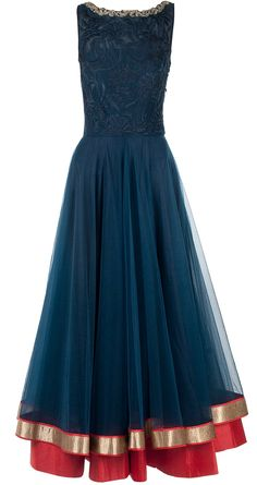 navy blue bugle bead embroidered anarkali jade by monica and karishma