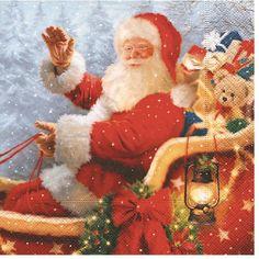 Kerst servetten met kerstman opdruk  Kerstman servetten. Papieren 3-laags kerst servetten met een afbeelding van de kerstman. Formaat: 33 x 33 cm. Inhoud: 20 stuks.  EUR 3.50  Meer informatie