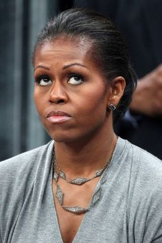 Michelle Obama dressed up her twinset with a chic layered sterling necklace