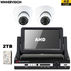 285.05$  Buy now - http://ali24e.worldwells.pw/go.php?t=32758205060 - 2pcs 720p Indoor Dome Cameras 4CH Security Cameras kits Video CCTV Surveillance DVR System Kits 7inch Monitor screen 2TB HDD  285.05$