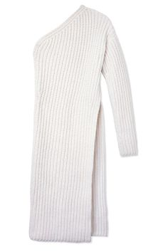 An asymmetrical silhouette with a cut-up-to-there slit is a totally sexy way to get cozy. Just add a full skirt or slip dress underneath.Stella McCartney One Sleeve Knit Dress, $1,020, shopBAZAAR.com.