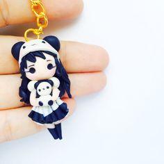 Panda Girl Hat Dress Maid Kawaii Doll Polymer by MintFoxBoutique