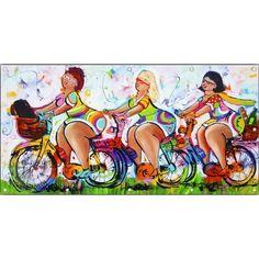 Tuinposter Dames op de fiets - Vrolijk Schilderij