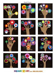 Hand Trees Medium: Construction paper, Scissors, White Crayon - Kunstunterricht Klasse -: Hand Trees Medium: Construction paper, Scissors, White Crayon - Kunstunterricht Klasse - Va Va Kandinsky Fall Tree Tutorial – Art Projects for Kids . Kandinsky For Kids, Kandinsky Art, Hand Art Kids, Art For Kids, Kindergarten Art, Preschool Art, Art 2nd Grade, Square One Art, Hand Kunst
