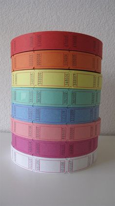 Tags.  100 Blank Carnival Tickets - 8 colors to choose from. $3.00, via Etsy.