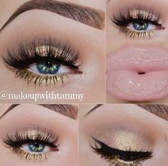 """""""KissMeSoftly!"""" - shimmer gold shadow in middle of eyelid. light orange dusted above crease area blended with the warm brown in crease area. a light metallic shadow in tear duct area with the gold shimmer lined underneath waterline."""