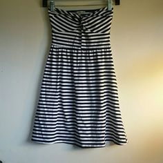 NWOT Cute strapless Charlotte Russe dress! Navy and white striped dress. 95% cotton 5% spandex. Cut out in back. NWOT. Charlotte Russe Dresses Strapless