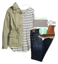 stripe contest! by econgdon on Polyvore featuring polyvore, fashion, style, H&M, American Eagle Outfitters, L.L.Bean, Kate Spade, Kendra Scott and sydhits1k