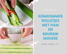 Komkommerrolletjes met ham. Een leuk, mooi en vooral lekker koud borrelhapjes. Die kan iedereen maken. Ja,Jij ook! Koud borrelhapje met komkommer Celery, Ham, Snacks, Vegetables, Recipes, Hams, Veggies, Veggie Food, Rezepte
