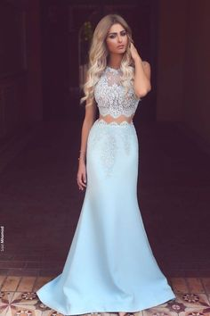 2017 Light blue chiffon white lace see-through round neck mermaid long prom dresses, formal dresses