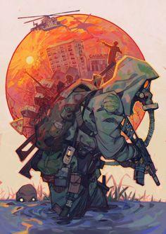 Post Apocalyptic Art, Apocalypse Art, Military Drawings, Arte Cyberpunk, Military Art, Navy Military, Sci Fi Art, Game Art, Art Inspo