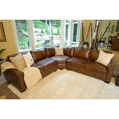 Elements Fine Home Furnishings CARSECLAFLRAFLCSRUST1 Carlyle Top Grain Leather Sectional in Rustic