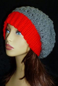 Slouchy Beanie Crochet Slouch Hat Handmade Beanie Red by berly731