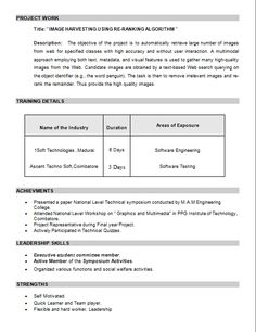 Resume for m tech admission