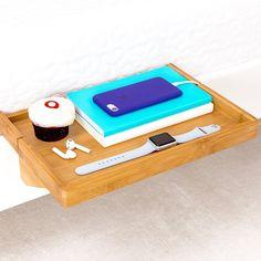 BedShelfie - Modern Bamboo Bedside Shelf / Space-Saving, Floating Nightstand (in Natural)