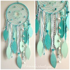 This one of a kind, handmade dreamcatcher features a lovely ocean inspired theme with blends of turquoise, mints, blues, greys & hints of
