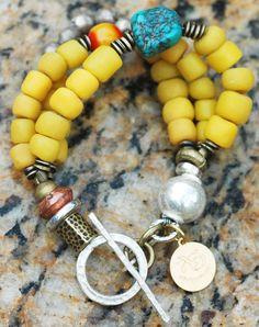 Lhasa Bracelet: Tibetan Inspired Yellow Glass, Turquoise, Amber and Mixed Metals Bracelet $95
