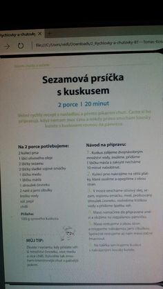 Sezamova prsicka s kuskusem Chicken Recipes, Good Food, Food And Drink, Fitness, Diet, Pork, Healthy Food, Yummy Food