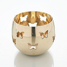 Butterfly Detail Metal Tea Light Candle Holder
