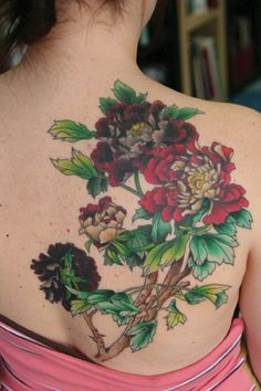 great floral back tattoo