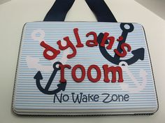 Red White and Blue No Wake Zone  Nautical Anchor  by RibbonMade, $30.00