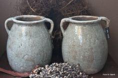 Craquele pot met oren Olive Green Brynxz