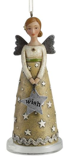 Kelly Rae Roberts Sculpted Angel Ornament-Wish