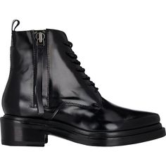 Acne Studios Spazzolato Linden Boots ($650) ❤ liked on Polyvore featuring shoes, boots, black, black combat boots, black pointed toe boots, leather lace up boots, black platform shoes and lace-up platform boots