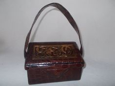 Very rare 1940's crocodile box bag with brass top custom made by Calem by VintageHandbagDreams on Etsy