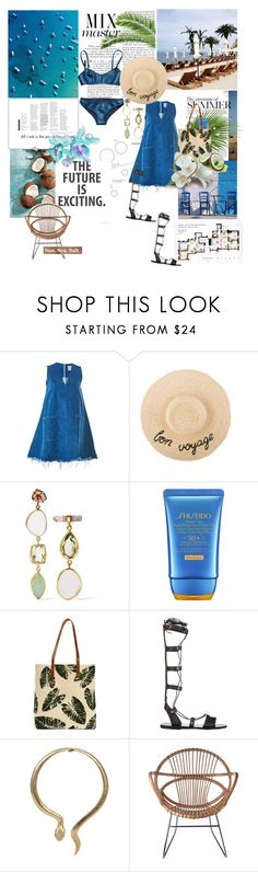 """Mångata"" by la-rosy ❤ liked on Polyvore featuring Libertine, Sandy Liang, Melissa Joy Manning, Shiseido, Ancient Greek Sandals, Pols Potten, Summer, Blue, gladiatorsandals and summer2018"