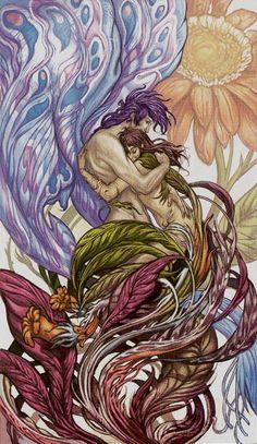 VI - Les amoureux - Universal Fantasy Tarot par Paolo Martinello