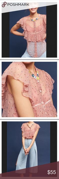 """ANTHROPOLOGIE Varun Bahl Beaded & Ruffled Blouse S BNWT ANTHROPOLOGIE Varun Bahl Beaded Ruffled Blouse Size S Indian designer Varun Bahl is best known for mixing traditional forms with contemporary elements - think sari-style gowns crafted with couture-inspired embellishments. Finely detailed & consistently luxurious, his timeless pieces are cherished by those with a penchant for glamorizing the classics. Color: Pink Sheer cupro Beaded detail Flutter sleeves Button front9 Dimensions * 24""""L…"""