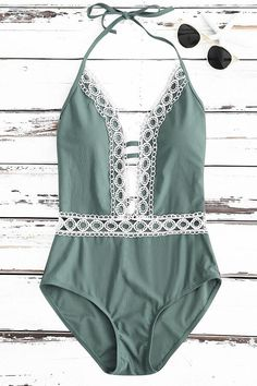 Floralkini Lace Embroidered Plunge One Piece Swimsuit – FloralKini