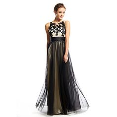 865f68d66   109.99  A-Line Scoop Neck Floor Length Tulle Color Block Prom   Formal  Evening Dress with Appliques by TS Couture®
