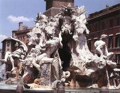 Fountain of the Four Rivers - Gian Lorenzo Bernini.  1648-51.  Travertine and marble.  Piazza Navona, Rome, Italy.