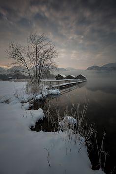 Wintermorgen #2 Winter, Schnee, Wasser, Kochelsee