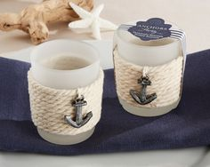 "Beach wedding decor Nautical wedding decor ""Anchors Away"" Rope Tealight Holder (Set of 4)"