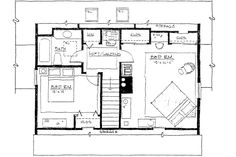 Colonial Style House Plan - 3 Beds 2.50 Baths 1680 Sq/Ft Plan #530-1 Floor Plan - Upper Floor Plan - Houseplans.com