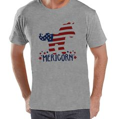 Men's 4th of July Shirt - Funny Mericorn Grey T-shirt - American Flag Unicorn 4th of July Party Shirt - Funny Patriotic Independence Day
