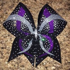 Badda Bling Bows - Criss cross infinity wave dyed graphics glitter sublimated rhinestone cheer bow, $20 @www.baddablingbows.etsy.com