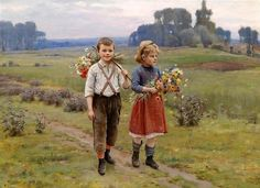 Pattein, Cesar (b,1850)- Children Picking Wildflowers -2b