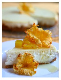 Cheesecake with Roasted Pineapple and Pineapple Flowers