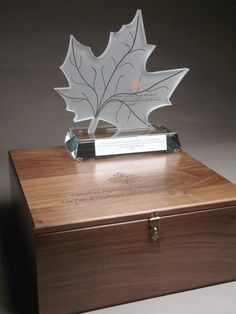 a program for the federal Canadian government sandcarved maple leaf on custom maple laser engraved presentation box Custom Trophies, Trophy Design, Custom Awards, Coin Display, Dog Mom, Laser Engraving, Over The Years, Decorative Boxes, Allah Islam