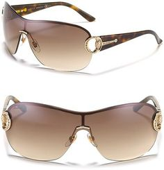Gucci - Gradient Shield Sunglasses with Crystal Bridle Temple