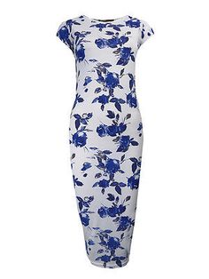 Blue Floral Bodycon Midi Dress , £5.99