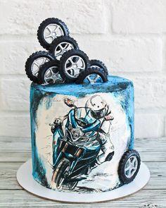 No photo description. 30th Birthday Cakes For Men, Fondant Flower Cake, Fondant Bow, Fondant Tutorial, Fondant Cakes, Bmw Cake, Motorcycle Cake, Artist Cake, Bike Cakes